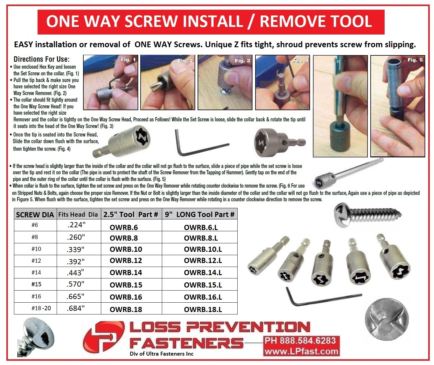 One Way Screw Removal Tool security tools