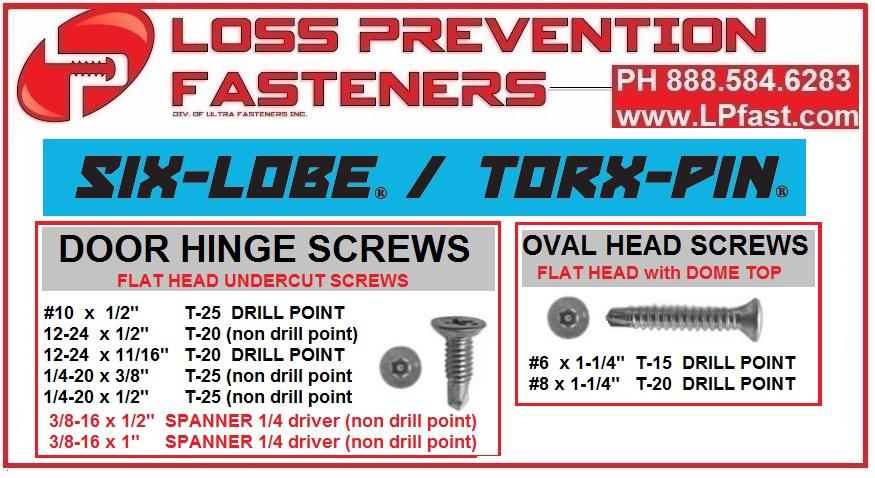 Hinge screws SECURITY TAMPER door hinge