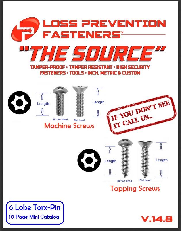 Torx pin security screws