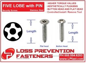 5 LOBE Pin Tapping Screws