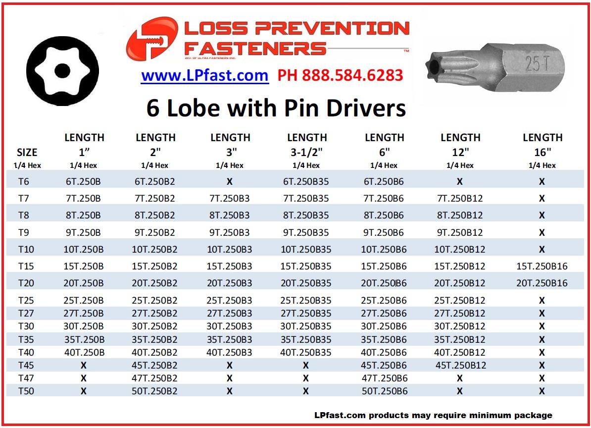 6 lobe bits anti theft tools
