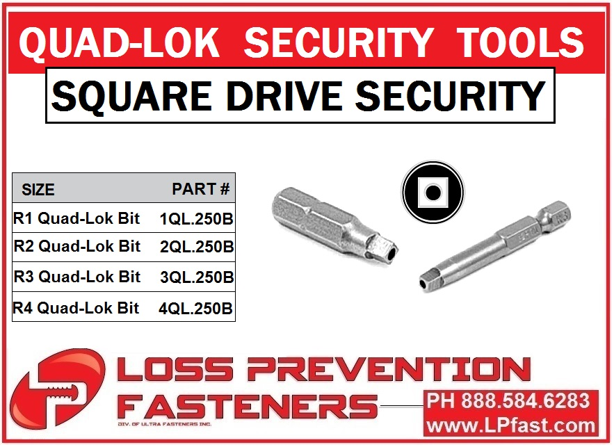 Square Drive Pin security bits