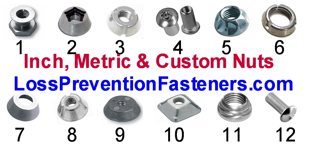 different tamper proof nuts