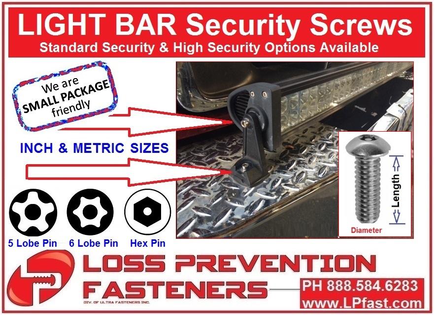 High Security Light Bar Screws