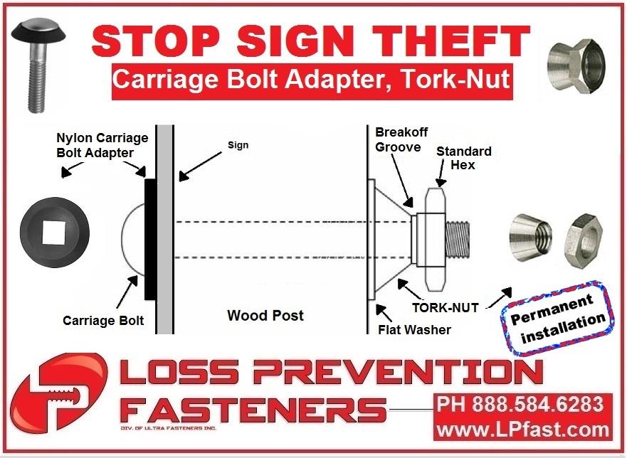 Stop sign theft tork nut