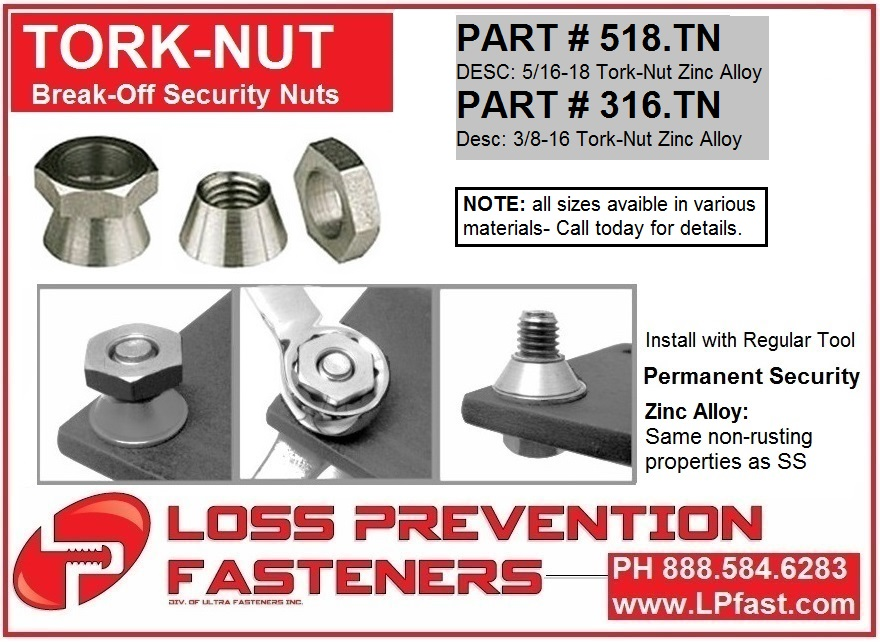Tork Nut for sign security