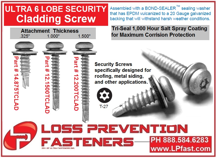 Cladding security screw