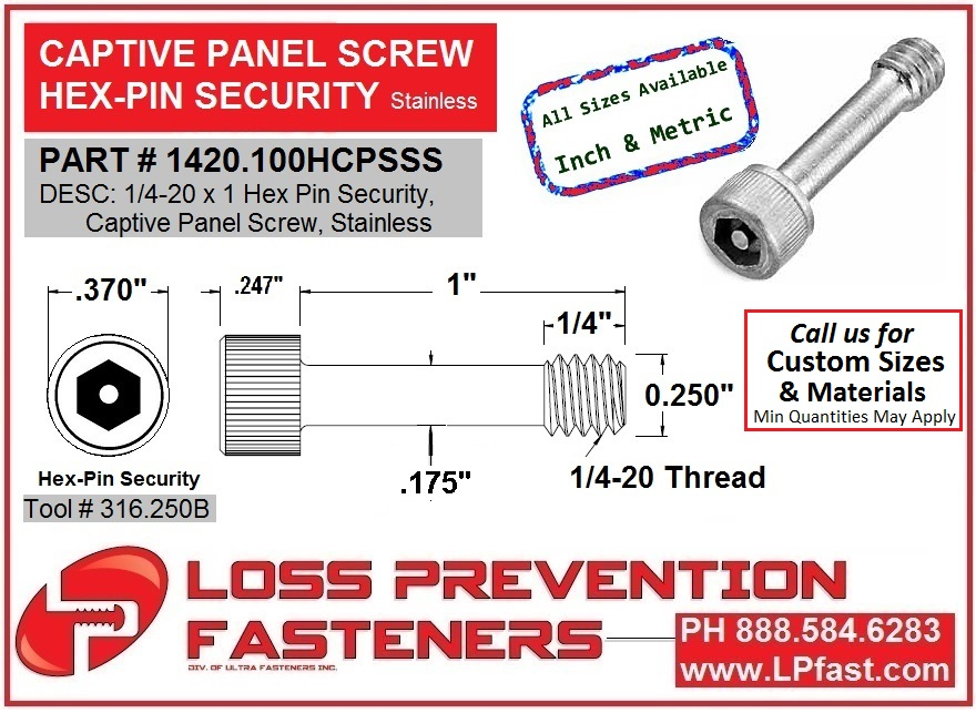 Hex Pin Security Captive Panel Screw