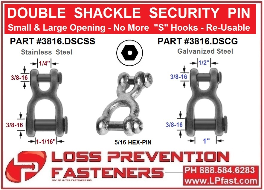 Security pin shackle tamperproof security