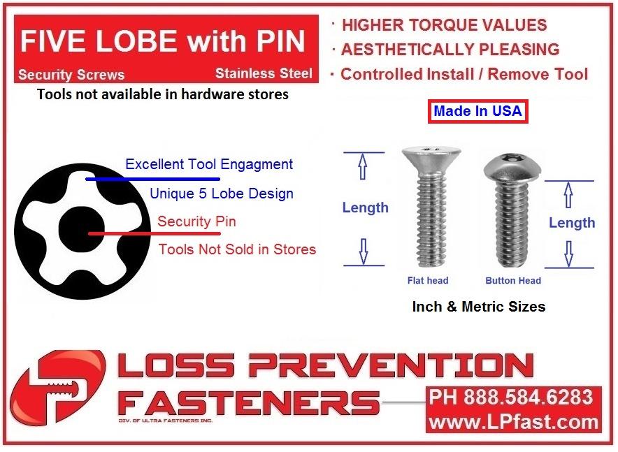 5 LOBE Pin Made in USA