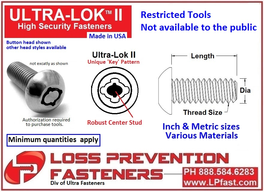 Anti theft security fastener