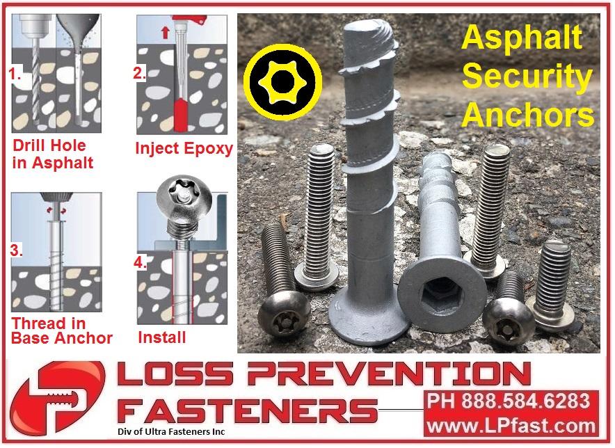 Asphalt Security Anchors Tamper Proof