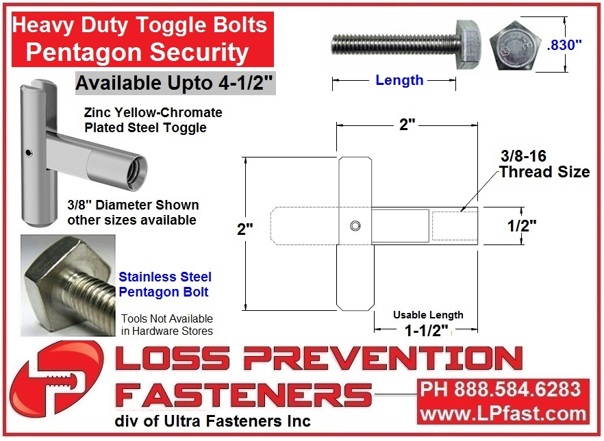 Penta Toggle Bolts Heavy Duty