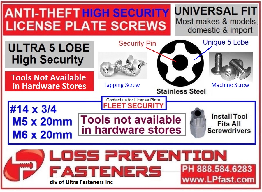 License plate security Ultra 5 Lobe