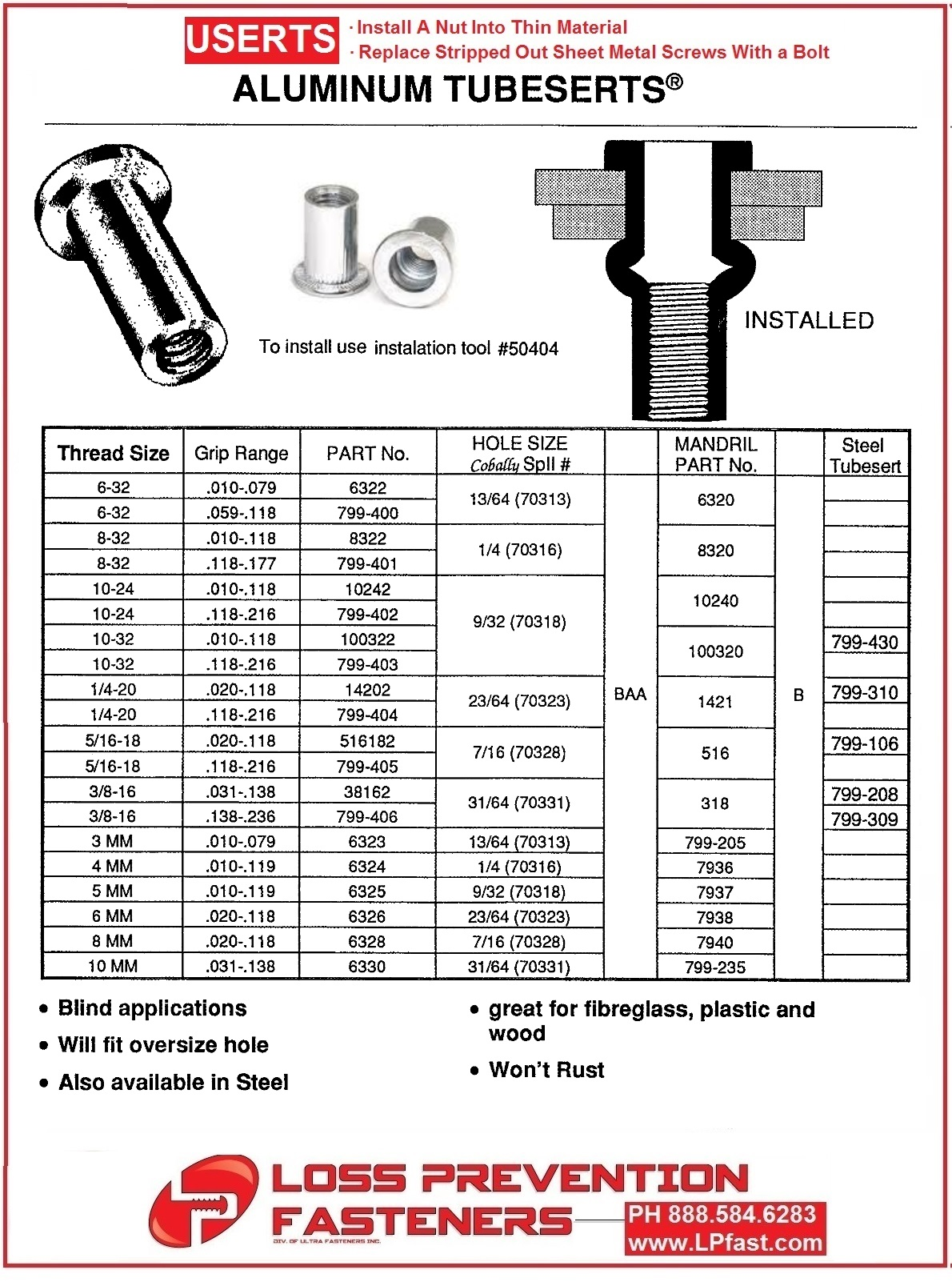 Tubeserts Hole Sizes and Part numbers