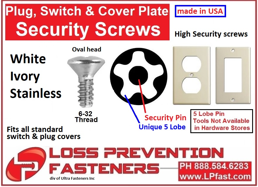 security screws for light and plug cover plates