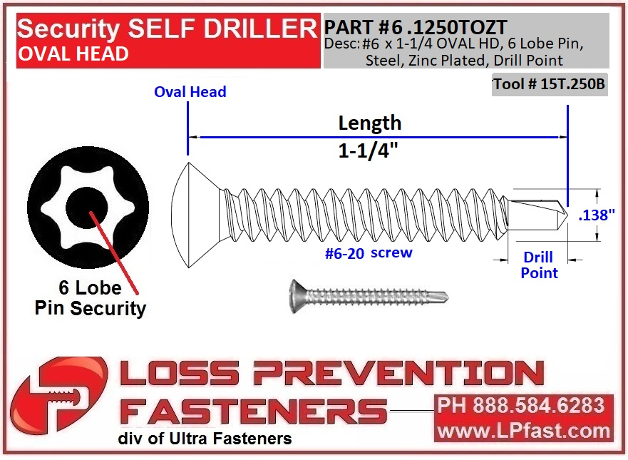 6.1250TOZT Oval drill Point security Screw