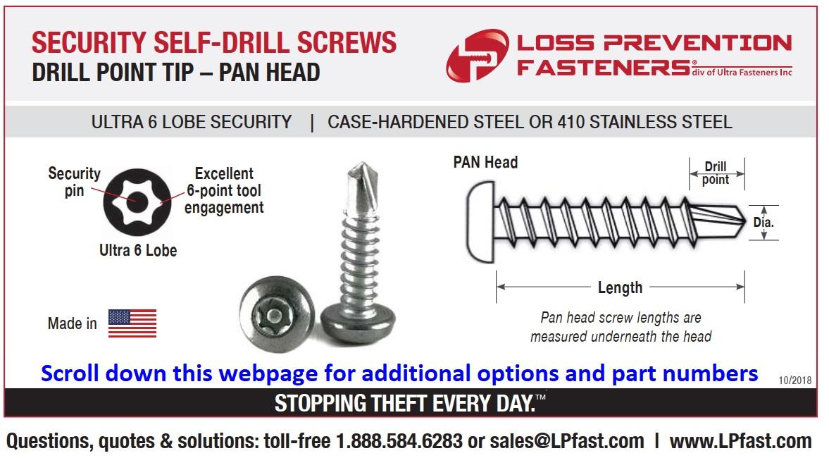 Drill Point Pan head Security screws