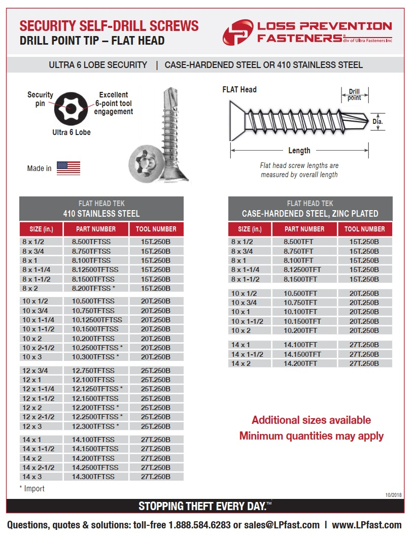 FLAT Head Security DriPoint Screws Part Numbers