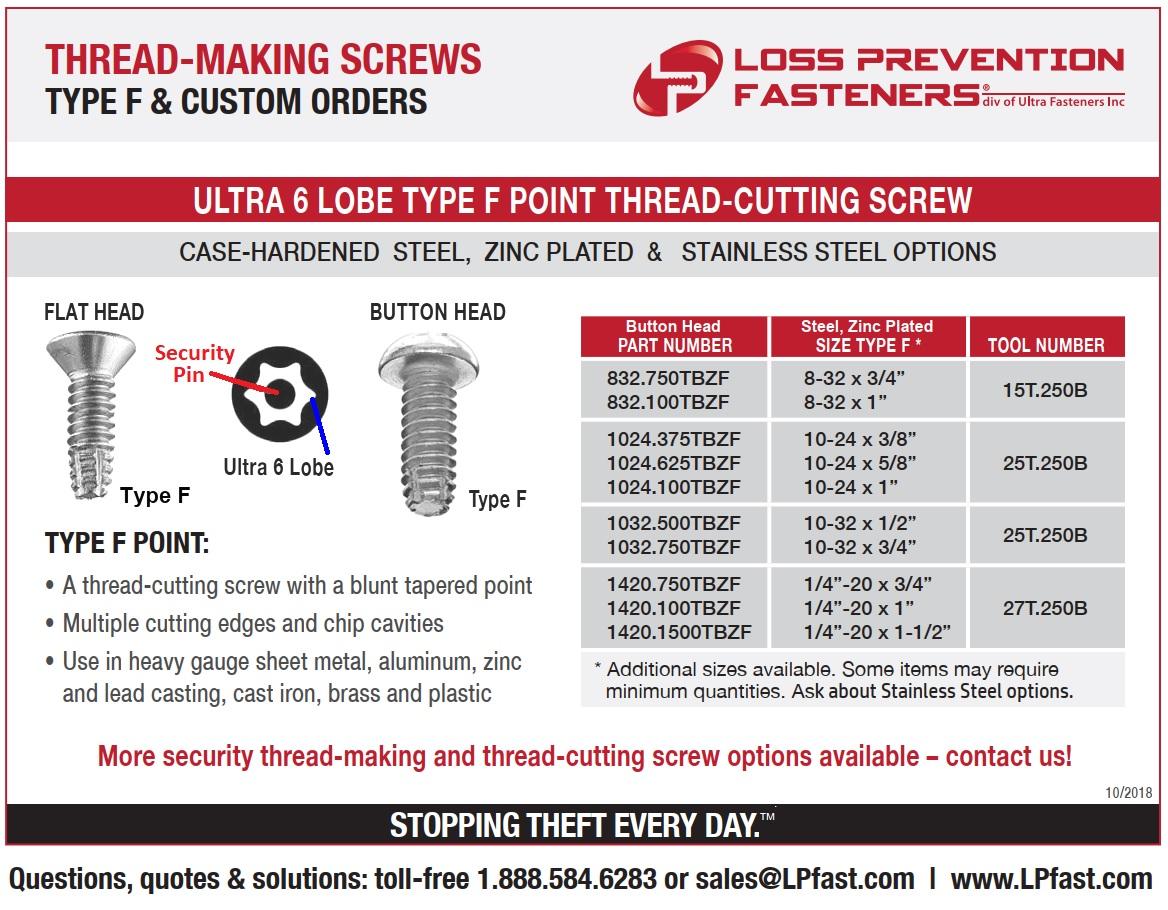 Type F Thread Cutting Security screw