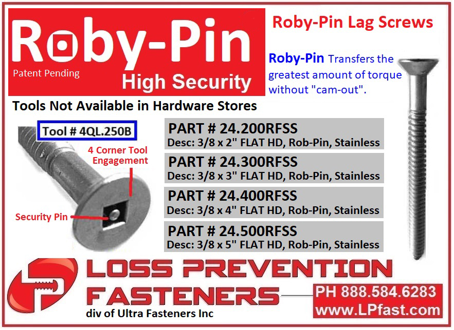 Roby-Pin Lag Screws Square Drive