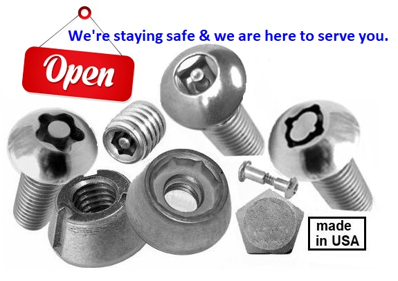 Loss Prevention Fasteners Security Screws Made in USA